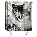 LLLTONG Duschvorhang wasserdicht und Schimmel waschbar Duschvorhang Polyester Stoff 3D Duschvorhang Wolf Kumpel