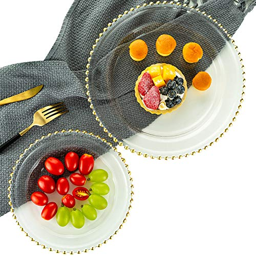 Nuptio Side Plates Round Charger Plates Glass Tray with Beaded Rim, Glass Plates Dinner Chargers for Receptions Weddings Parties Banquets Table Decoration Events, 2 Pcs