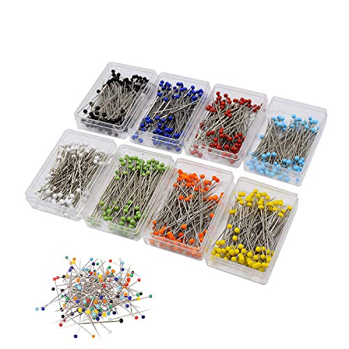 800 Pieces Sewing Pins 38mm multicolor Glass Ball Head Pins for Dressmaking Jewelry Components Flower Decoration With Transparent Cases, 8 Colors