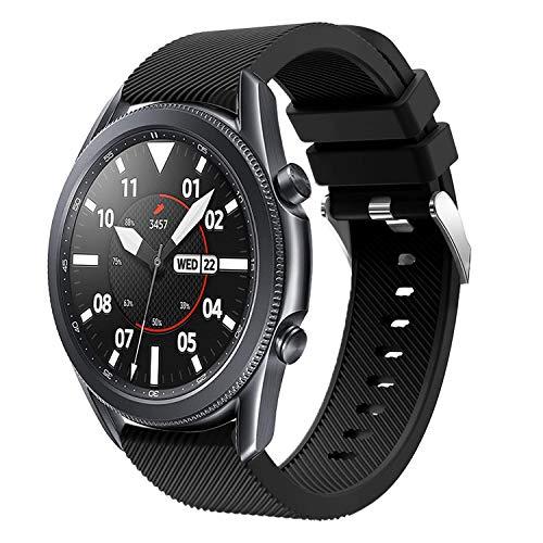 20mm Cinturino, Compatibile con Samsung Galaxy Watch 3 41mm/ Galaxy Watch Active/Active2 40mm/44mm, Cinturini Sportiva in Morbido Silicone per Galaxy Watch 42mm/Gear Sport/Gear S2 Classic (Nero)
