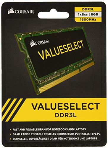 Corsair Value Select SODIMM 8GB (1x8GB) DDR3L 1600MHz C11 Speicher für Laptop/Notebooks - Schwarz