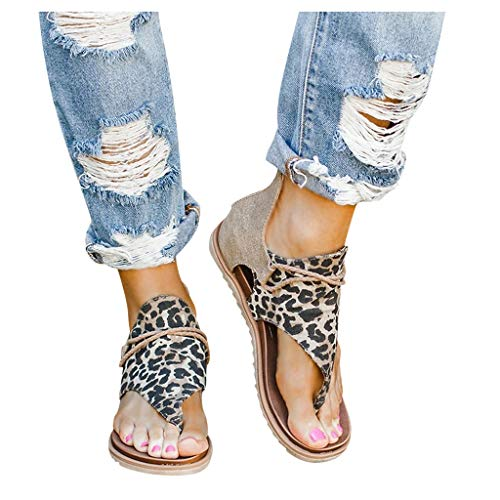 Women Posh Gladiator Comfy Sandal Leopard Cutout Thong Sandals Vintage Casual Back Zip Flat Heel Clip-Toe Shoes White