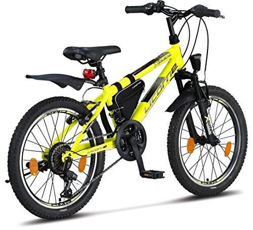 Licorne Bike Guide Premium Mountainbike in 20 Zoll - Fahrrad für Mädchen, Jungen, Herren und Damen - 18 Gang-Schaltung - Gelb/Schwarz