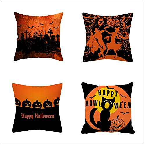 N / A Square Cushion Covers Linen Cotton with Invisible Zipper for Decorative Sofa and Couch Throw Pillow Case Halloween 4 Pack 55x55cm(22x22inch) Y572