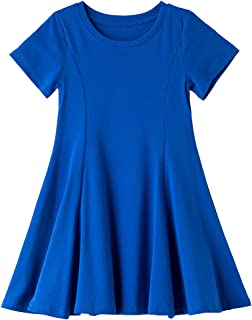 Csbks Toddler Girls Short Sleeve Cotton Dress A-Line Twirly Skater Dresses