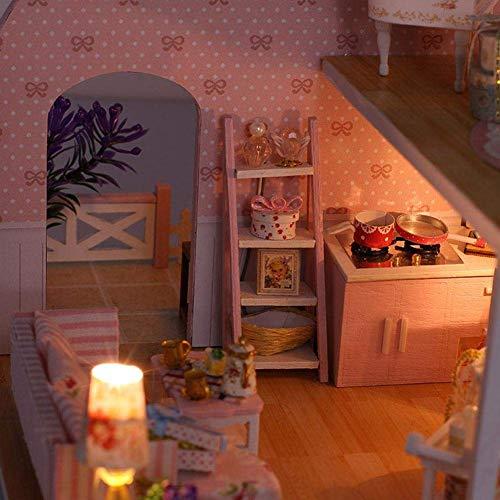 Kit de casa de muñecas en miniatura con muebles y cubierta, regalo creativo con luces LED + cubierta de polvo (C)