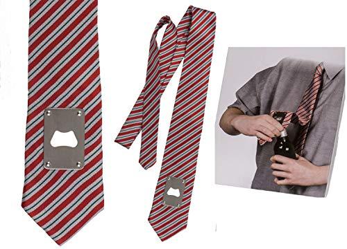 KOSxBO® Scherzartikel Krawatte mit Flaschenöffner für unsere Alkoholiker - LUSTIGES Geschenkidee - Party Gadget - Karneval - WICHTELGESCHENK - Silvester