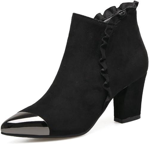 DYF Chaussures Bottes Courtes vérin Central Fleur Couleur Sort Talon Rugueux Scrub,noir,37