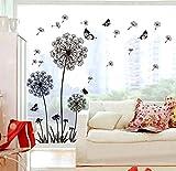 ufengke Tarassaco Neri e Farfalle Che Volano nel Vento Adesivi Murali, Camera da Letto Soggiorno Adesivi da Parete Removibili/Stickers Murali/Decorazione Murale