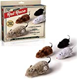 Wind Up Fake Toy Mouse - 4 Pcs Rat Racing Set - Furry Running Realistic Plush Mice With Twirling Tail - Windup Rats Mechanical Rat Race Toys for Kids Children Adults - Prank Mouse Play Toys