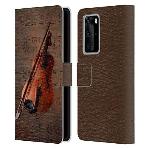 Head Case Designs Offizielle Simone Gatterwe Geige Vintage Und Steampunk Leder Brieftaschen Handyhülle Hülle Huelle kompatibel mit Huawei P40 Pro / P40 Pro Plus