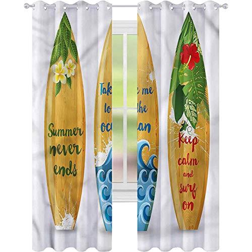 jinguizi Cortina de ventana vintage Hawaii tablas de surf de madera W42 x L72 cortinas opacas para dormitorio de los niños
