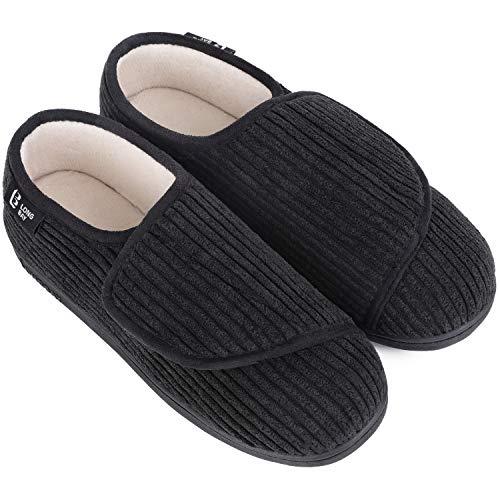 LongBay Women's Furry Memory Foam Diabetic Slippers Comfy Cozy Arthritis Edema House Shoes (9 B(M), Black)