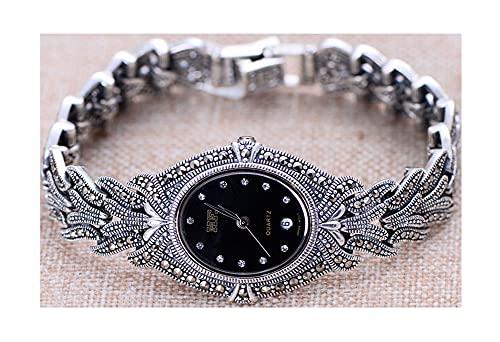VIVIANSHOP Reloj de Plata esterlina de Las Mujeres, Accesorio de Moda Retro, Reloj de Plata de Ley 925, Pulsera de Hoja única, para joyería de Plata de mamá y Novia.