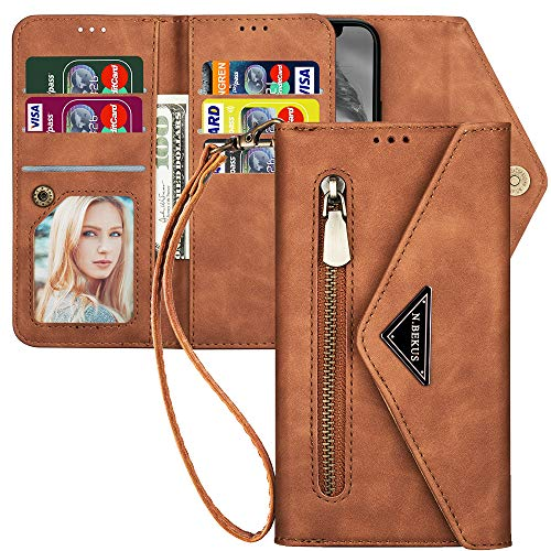 iPhone 12 Pro Max Case Wallet for Women,Kudex 7 Card Holder Envelope Flip Protective Leather Magnetic Kickstand Feature Zipper Wallet Clutch Case for Women for iPhone 12 Pro Max 6.7 Inch(Brown)