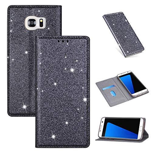 Nadoli Glitter Coque pour Galaxy S6 Edge,Luxe Fille Femme Brillante Bling Cuir PU Magnétique Portefeuille Housse Étui à Rabat pour Samsung Galaxy S6 Edge