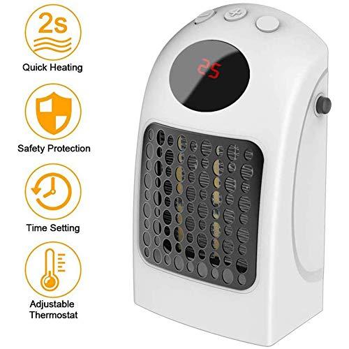 HealHeaters Huishoudelijke apparaten, stekkerverwarming, mini-stopcontact-verwarming, met timer, instelbare thermostaat, 900 W, mini-verwarming, digitaal led-display