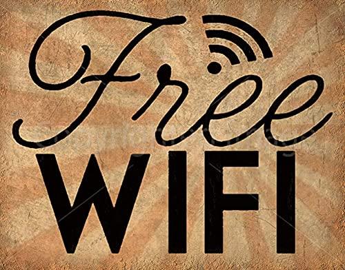 Libre WiFi estilo vintage metal signo de hierro pintura para interior y exterior Home Bar café cocina decoración pared 8 x 12 pulgadas