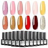 TOMICCA Esmalte de Uñas Semipermanente Set de 12 Colores Populares UV/LED Glitter Gel Nail Polish Set 6ML