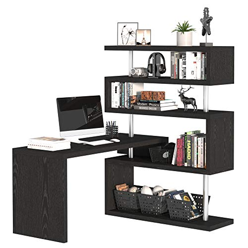 HOMCOM 94' 4 Tier L-Shaped Rotating Versatile Computer Desk with Shelves and Steel Frame - Black