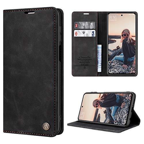 RuiPower Handyhülle für Xiaomi Redmi Note 9S Hülle, Redmi Note 9 Pro Hülle Premium Leder PU Flip Hülle Magnetisch Klapphülle Schutzhülle für Xiaomi Redmi Note 9S/ 9 Pro/9 Pro Max Tasche - Schwarz