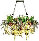 GDEVNSL Lámpara Colgante de Planta Creativa.Araña de Luces Verde Personalizada.Lámpara Colgante de Restaurante de música de Planta de simulación.Accesorios de iluminación para Bares y cafeterías