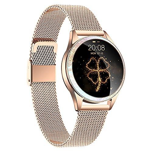 GEQWE Smartwatch Mujeres IP68 Pulsera Inteligente A Prueba De Agua Pantalla Colorida Reloj Inteligente con Podómetro Cardiovascular Reloj Despertador para iPhone Huawei Samsung Xiaomi Sony LG,Oro