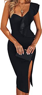 Women's One Shoulder Sleeveless Knee Length Side Split Fashion Bandage Dress