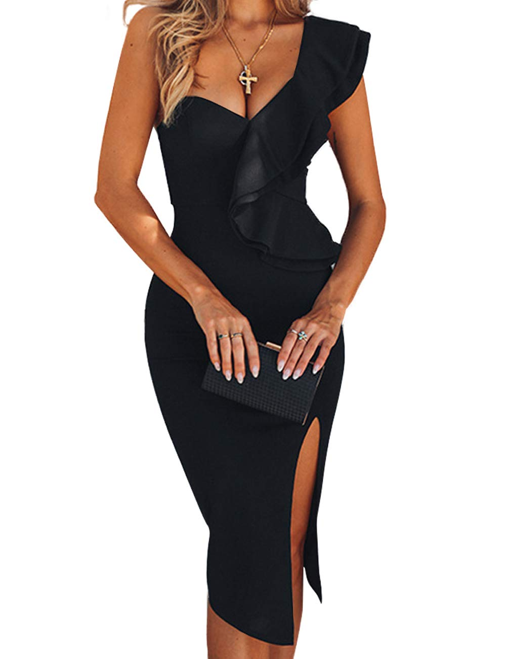 Party Dresses - Women's One Shoulder Sleeveless Knee Length Side Split Fashion Bandage Dress