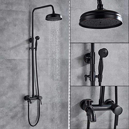 Saeuwtowy Juegos de Grifería Para Bañera Columna de Duchas Con Pantalla Ducha Lluvia Cuadrada Barra Adjustable -Latón Sin Plomo Resistante A Rasguño Negro
