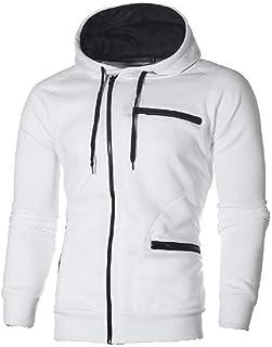 Mogogo Men's Comfy Zip Up Vogue Long Sleeve Solid Hooded Fleece Sweatshirt Top