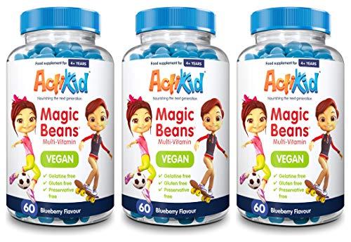 3X ActiKid Magic Beans Vegan Multi-Vitamin 60x Blueberry Flavour | Gelatine Free | Children's Vitamin | Immunity Booster