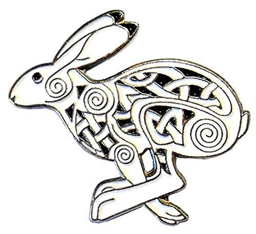 Pin de metal esmaltado, insignia de liebre celta wiccano, conejo ocultisto, símbolo mágico de runa (broche de 30 mm)