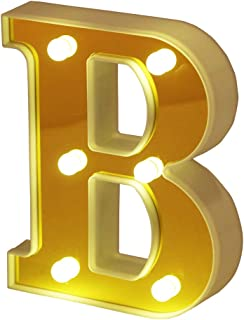 Hon Plume LED Marquee Letter Lights 26 Alphabet Light Up Letters Battery Power Golden Sign LED Wall for Home Bar Festival Christmas Lamp Night Light Birthday Party Wedding Decorative (B)