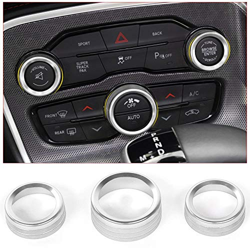 Voodonala Air Conditioner Switch CD Button Knob for Dodge Challenger Charger Chrysler 300 300s 2015-2019, for Ram 2013-2018 (Aluminum Alloy Silver)