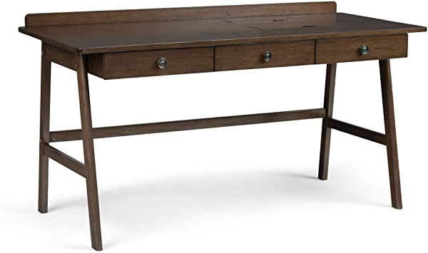 Simpli Home AXCRYL 14 Rylie Solid Wood Contemporary 60 Inch Wide Desk In Natural Aged Brown