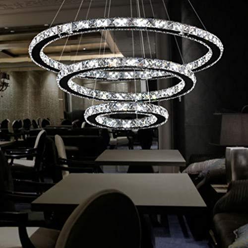 LED Modern Crystal Chandeliers 3 Ringe LED-Deckenleuchte Verstellbare Edelstahl-Pendelleuchte für Schlafzimmer Wohnzimmer Esszimmer (20+40+60 cm)
