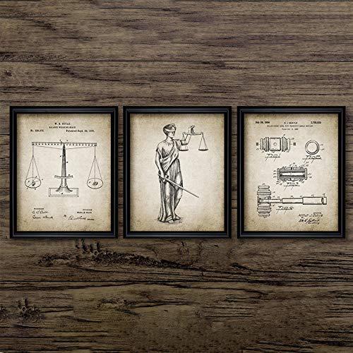 Tanyang Abogado Lady Justice Law Patentes Carteles e Impresiones Escalas de Justicia Abogado Regalo Arte Lienzo Pintura Abogado Oficina Decoración de la Pared Sin Marco 40 * 60cm*3