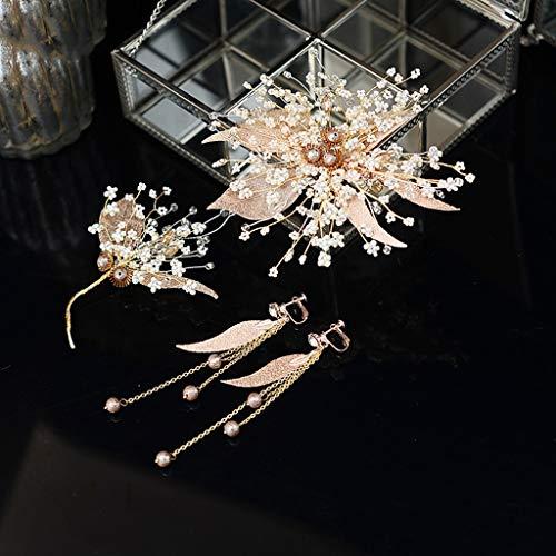 Nooit opgeven Bruids Hoofdtooi Koreaanse Side Clip Handgemaakte Kristal Haaraccessoires Haar Clip Gouden Barok Kant Kort Haar Plaat Haar