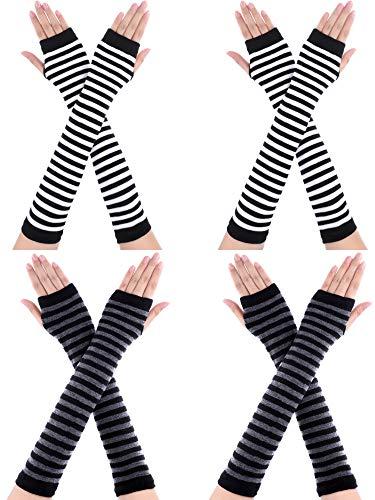 Bememo 4 Paar Winter Lange Fingerlose Handschuhe Gestrickte Armwärmer Ellenbogen Länge Handschuhe Daumen Loch Handschuhe für Damen Mädchen (Farbe G)