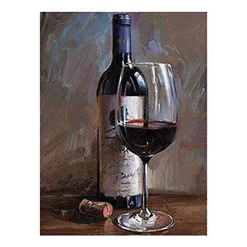 Gesh Kit de pintura de diamante para pintura de vino tinto y vino, con diamantes de imitación, para decoración de pared del hogar, regalo