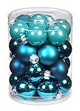 Inge Glas 15106D001 Kugel 30 mm, 28 Stück/Dose, Dazzling Club-Mix(türkis,petrol,wintergrün)