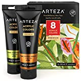 Arteza Metallic Acrylic Paint, Set of 8 Floral Brilliance Colors 4.06oz Tubes, Rich Pigments, Non Fading, Non Toxic Paints for Artists, Hobby Painters & Kids, Art Supplies for Canvas Painting & Crafts