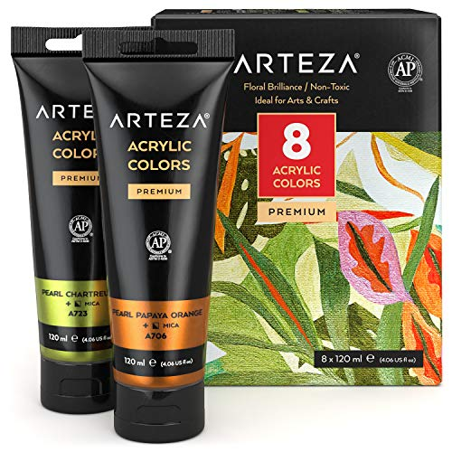 Arteza Metallic Acrylic Paint, Set of 8 Floral Brilliance Colors...