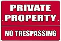 赤 Private Property No Trespassing メタルブリキ看板 ビジネス 小売店 ホーム 庭 フェンス