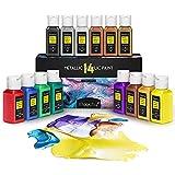 Magicfly Pinturas Acrílicas Metalizadas 14 Colores, Pinturas Metalizadas Para Colorear, Pintar, Pintura Metálica Para Artistas, Niños, Aficionados