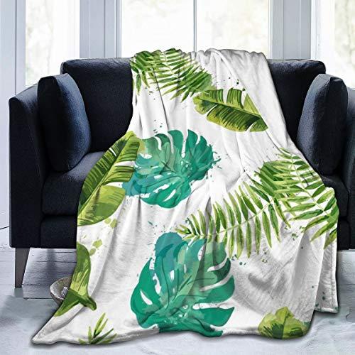 Colin-Design, coperta in flanella di pile, 80 x 60 cm, per tutte le stagioni, con foglie tropicali, senza cuciture, con sfondo floreale, isolata su coperta bianca per letto, divano, auto, ufficio, campeggio