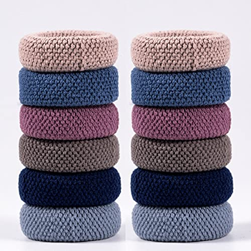 Women's Elastic Thick Hair Ties, Seamless Hair Bands That Will Not Break, Ponytail Holders, Will Not Slip or Tangles, No Damage to Thick Hair (Color 12 pcs)
