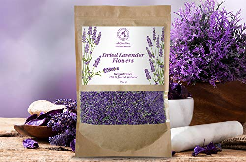 Flores Secas Naturales para Decoracion de Lavanda 100g - Provenza Francesa - 100% Natural & Puro - Mejor Olor a Lavanda - Flores Secas de Lavanda
