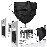 Harley Street Care Disposable Black Face Masks Protective 3 Ply Breathable Triple Layer Mouth Cover with Elastic Earloops (Pack of 100)